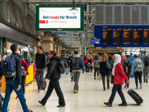 Get ready for Brexit sign in Glasgow Central station stock photo