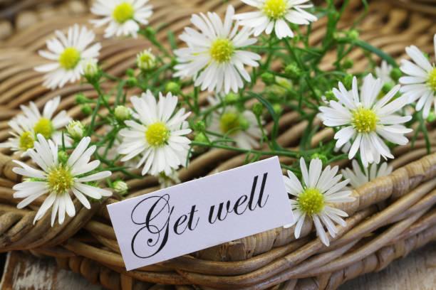 Obtenir une carte bien avec les fleurs de camomille douce sur plateau en osier - Photo
