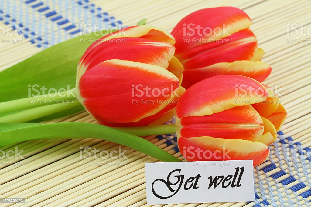 Get Well Card With Red Tulips On Bamboo Mat Stock Photo More