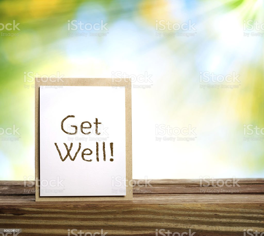 Get well message stock photo