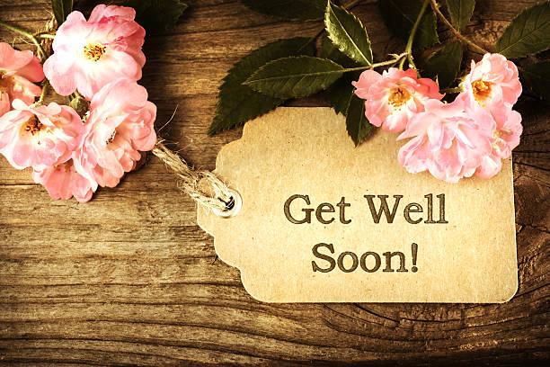 Prompt rétablissement message carte avec des roses - Photo