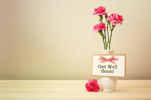 Prompt rétablissement message avec rose carnations - Photo