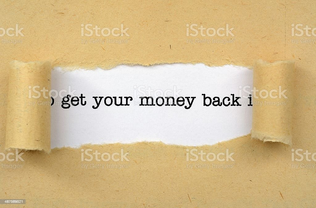 Get your money back stock photo
