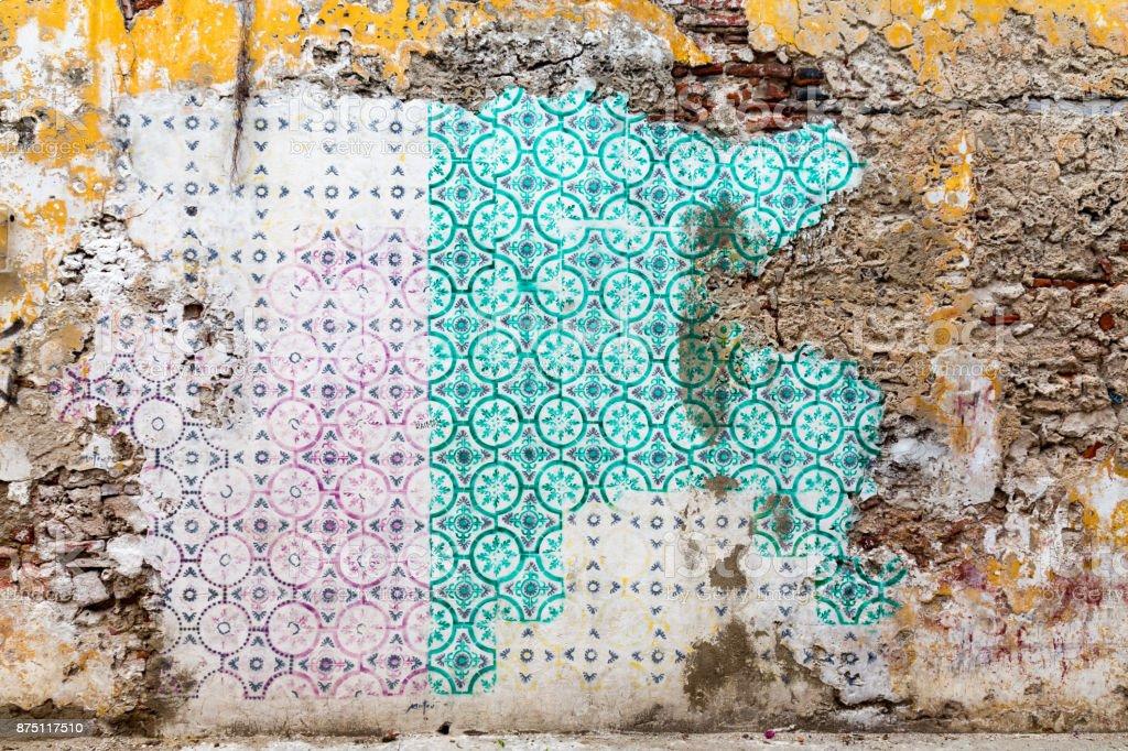Getsemani Crumbling Tile Wall stock photo