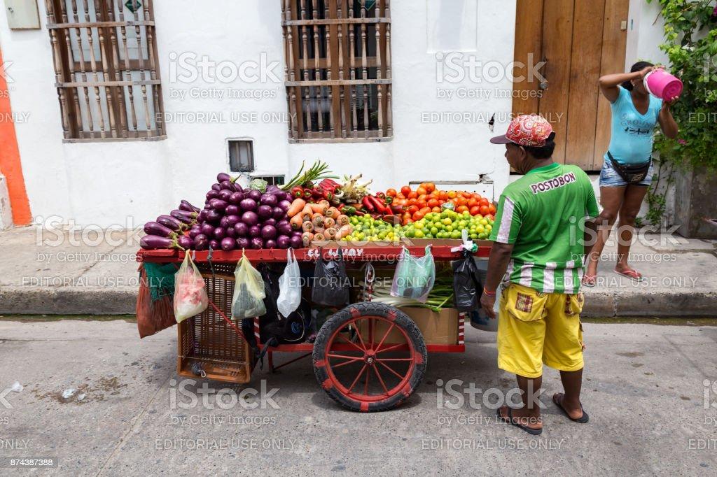 Getsemani fruit vendors stock photo