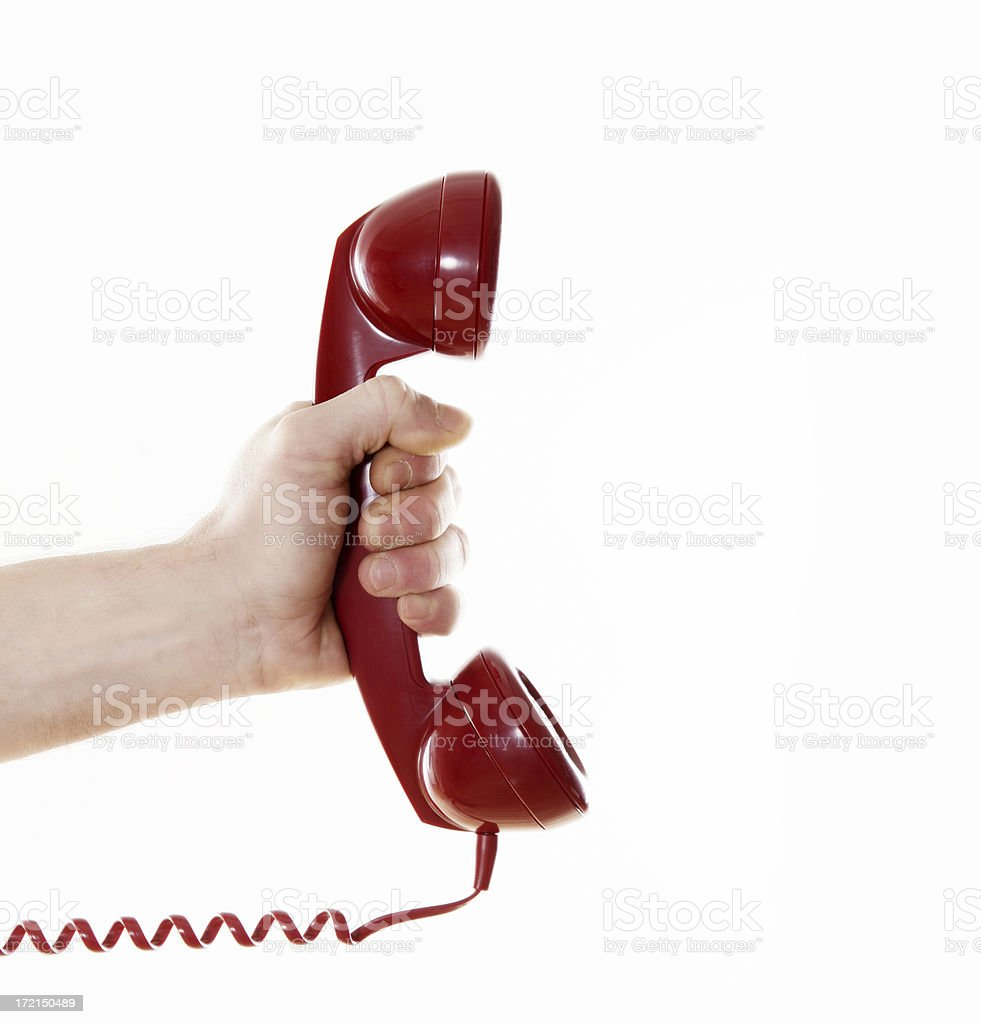 Getting a call Hand male holding a telephone cord hook. http://www.lisegagne.com/images/stilllife.jpg 1940-1949 Stock Photo