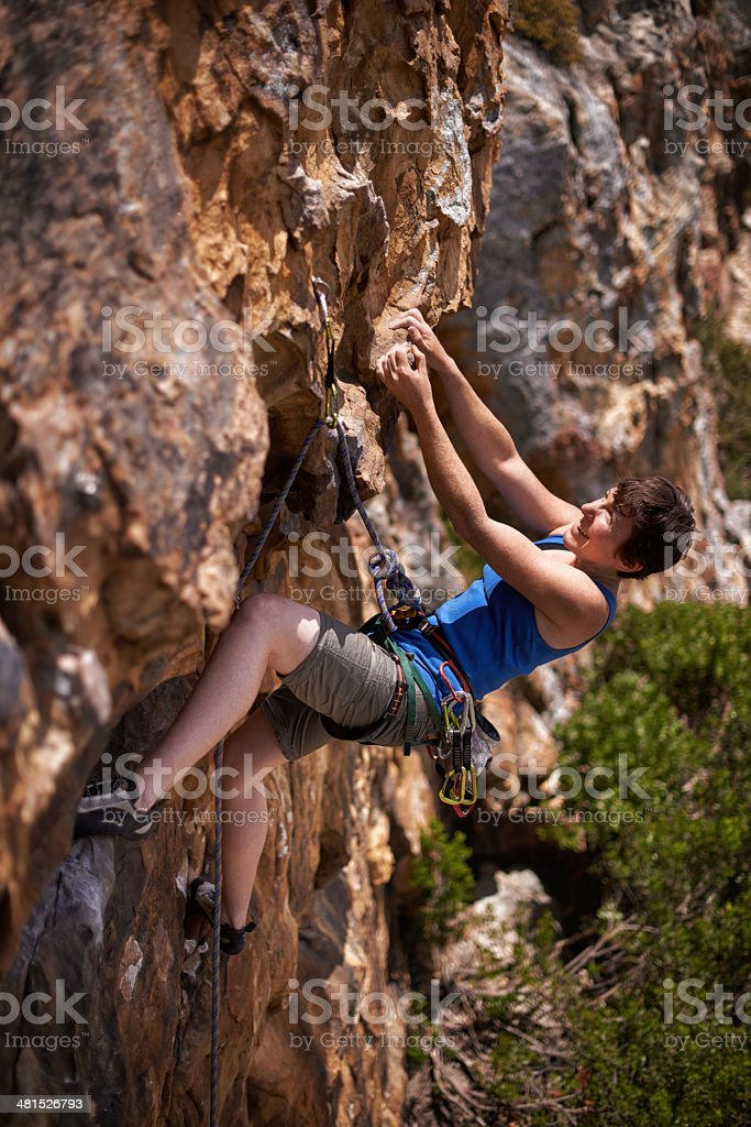 Getting a good grip before she moves on royalty-free stock photo