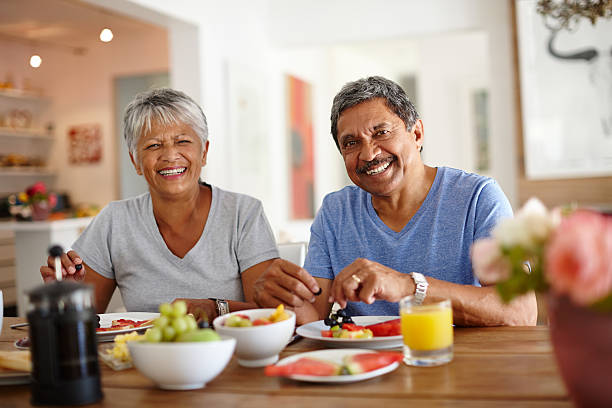 Getting a healthy start to the day stock photo