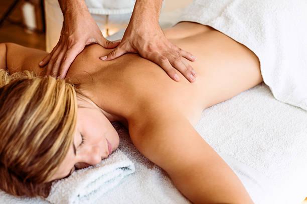 Getting a massage stock photo