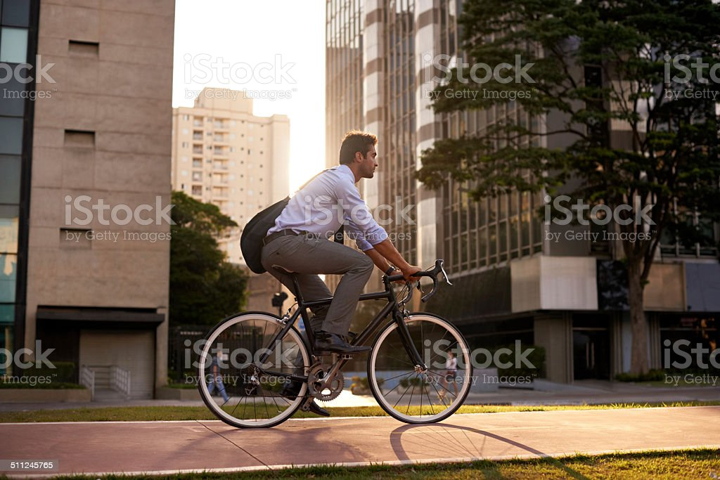 Getting a moving start on the day stock photo