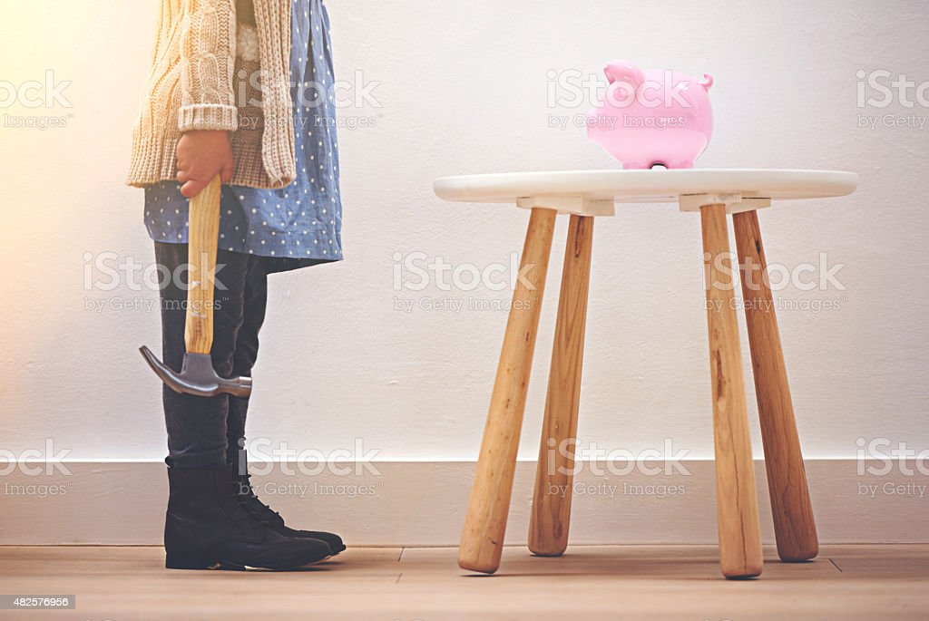 Getting an early start to her savings stock photo