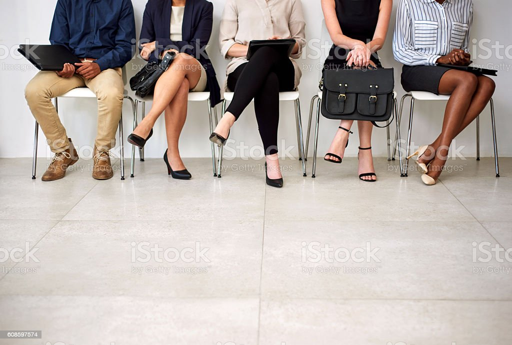 Getting an interview is a foot in the door stock photo