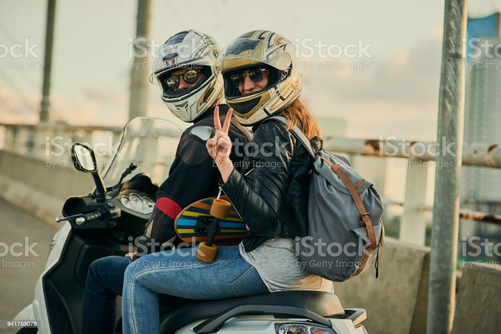 Getting around town in a fun way stock photo