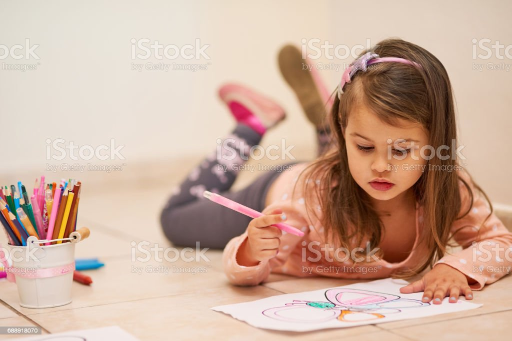Getting comfortable to get creative stock photo
