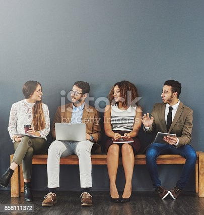 858111468 istock photo Getting comfortable with the fellow candidates 858111372