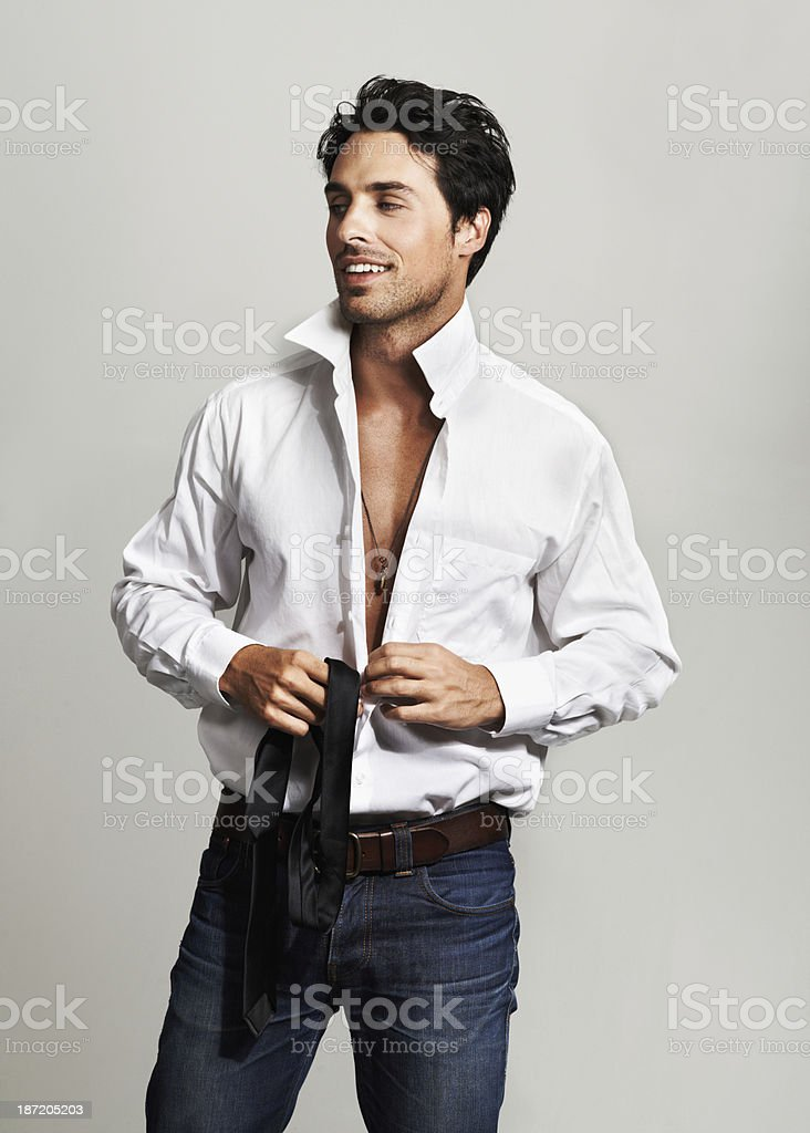 Getting dressed for a big day royalty-free stock photo