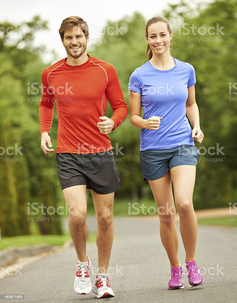 Getting fit together stock photo
