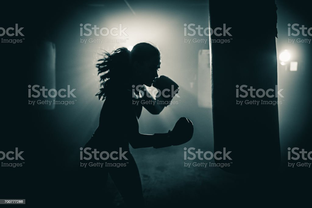 Getting fit with boxing royalty-free stock photo