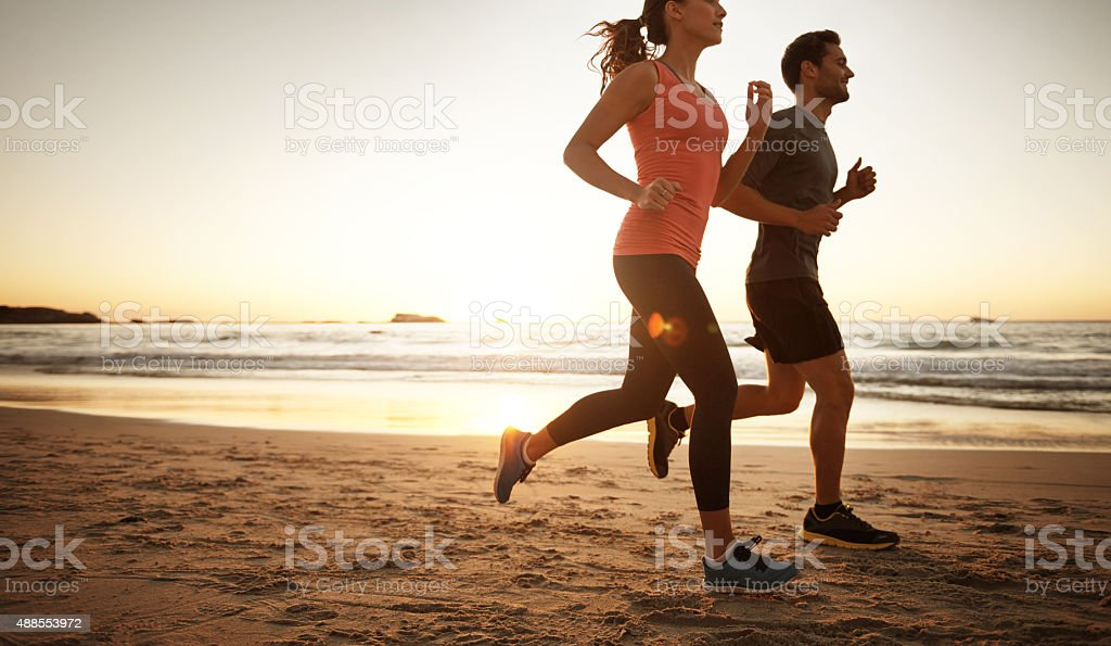 Getting fitter one step at a time stock photo