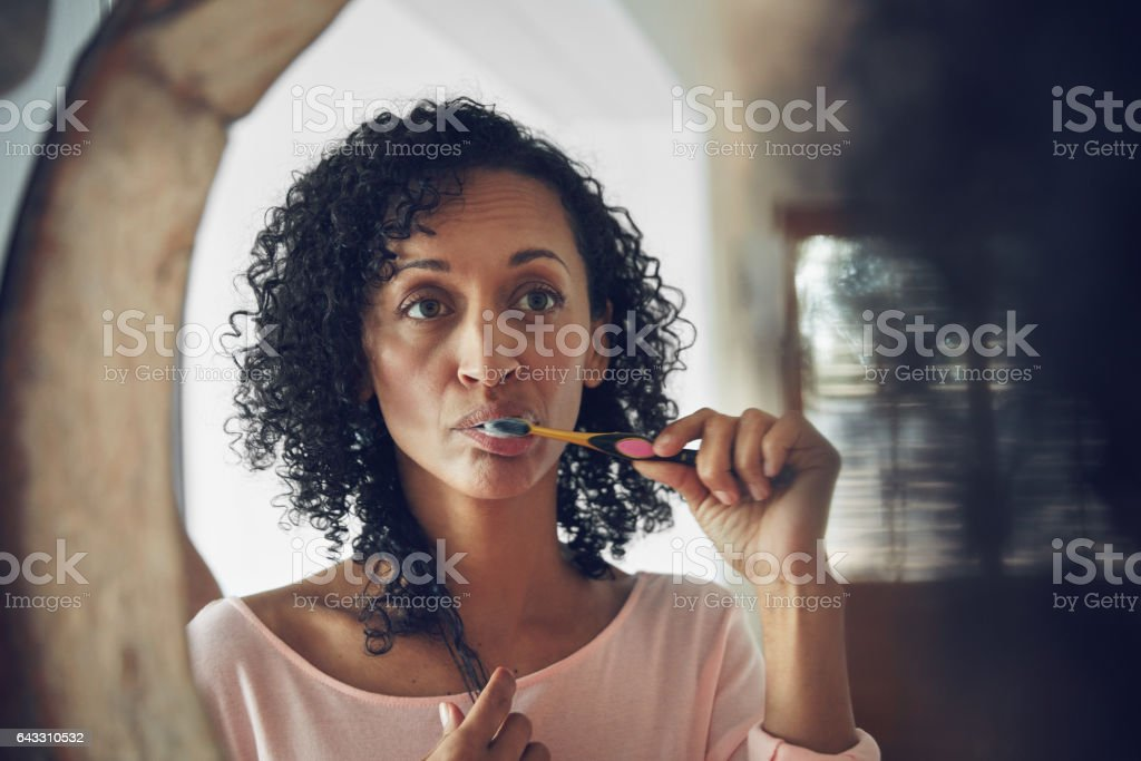 Getting fresh for the day stock photo