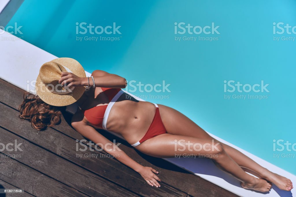 Getting golden tan. stock photo