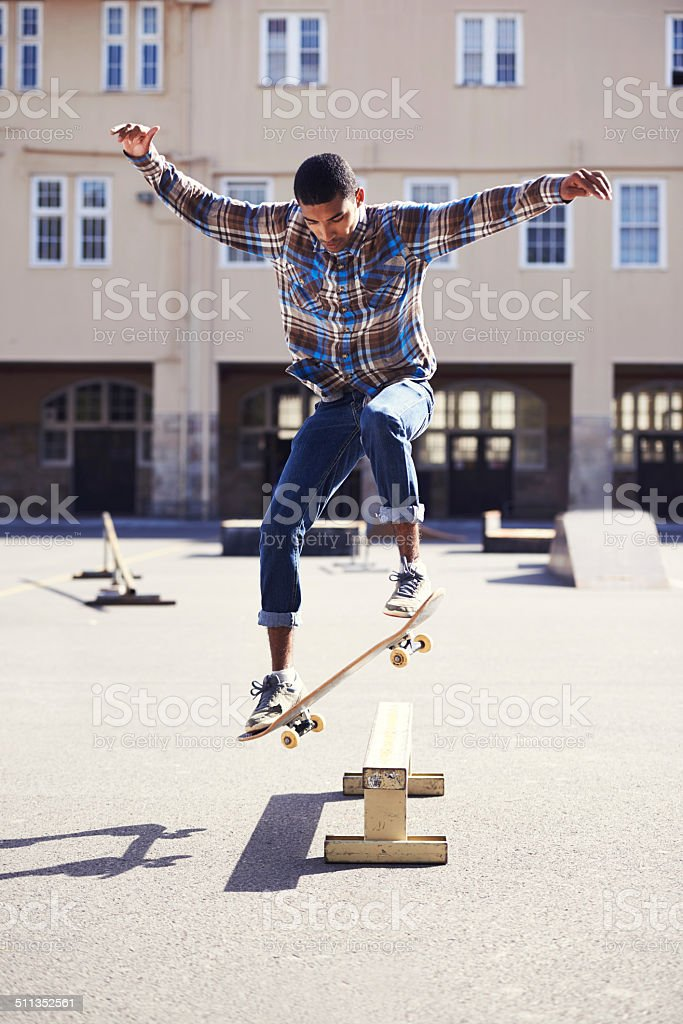 Getting good air on the ollie stock photo