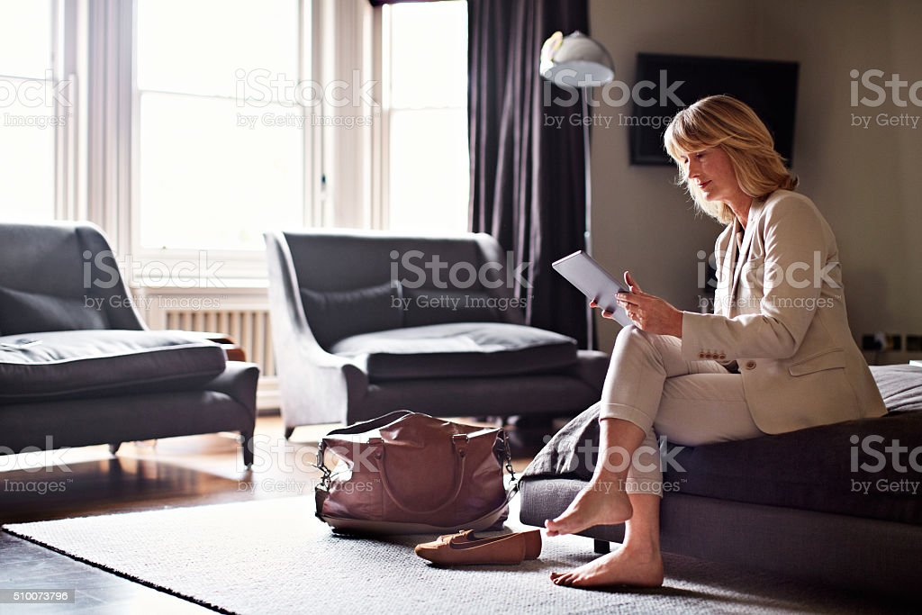 Getting her business trip in order stock photo