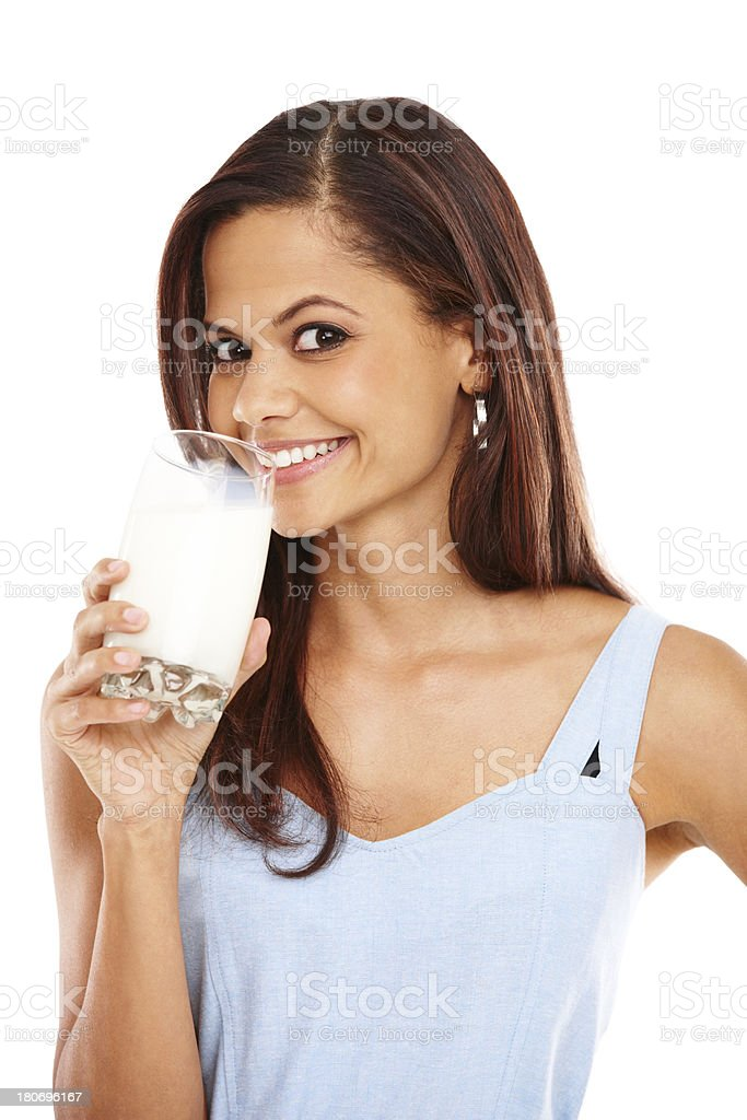Getting her daily dose of calcium royalty-free stock photo