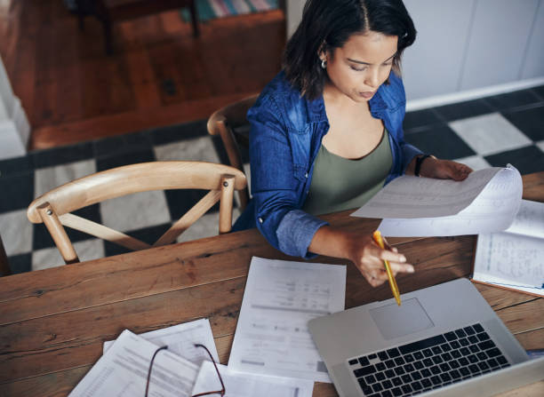 Getting her home business off the ground stock photo