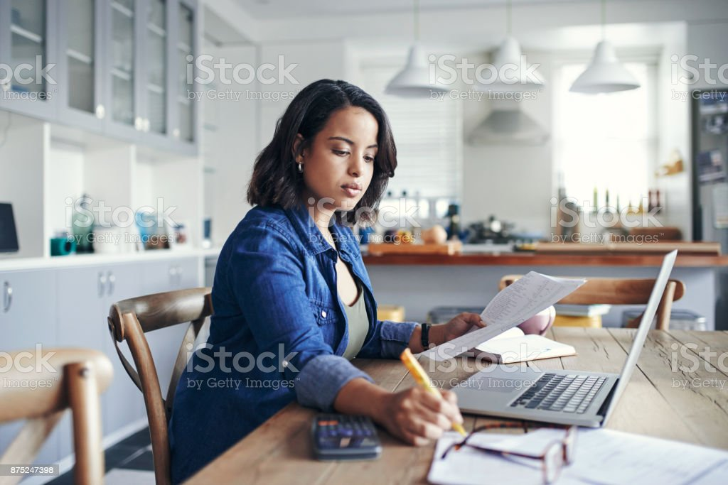 Getting her home business up and running stock photo