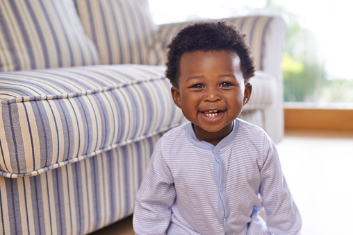 Shot of an adorable little baby boy at home