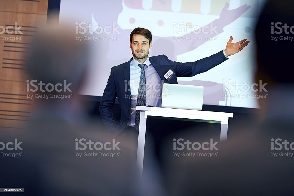 Getting his message across successfully stock photo