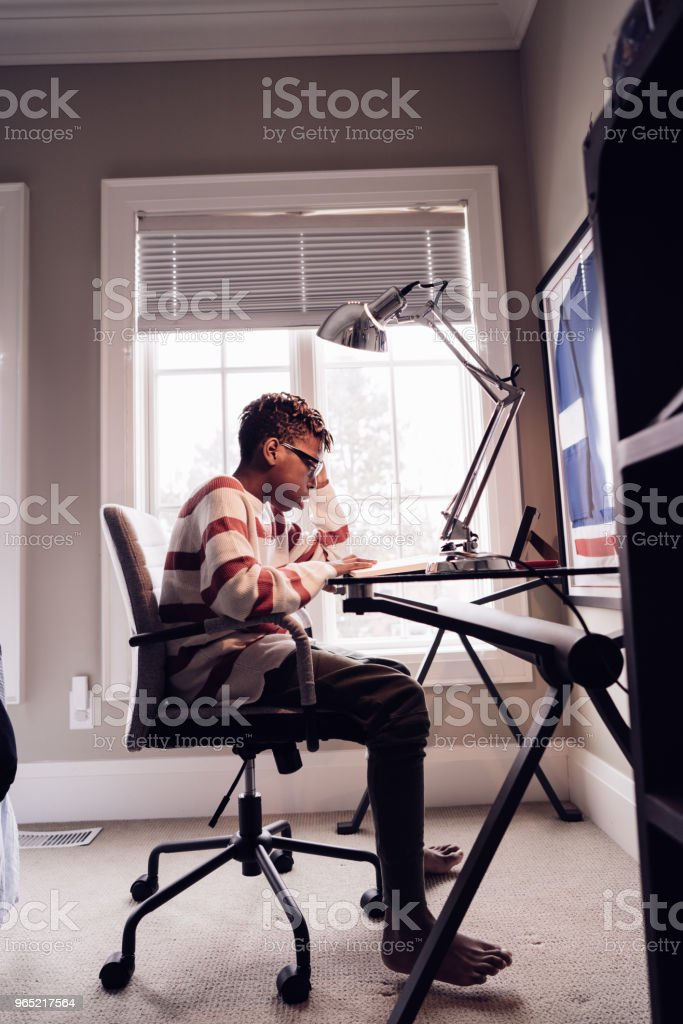 Getting homeworks done royalty-free stock photo