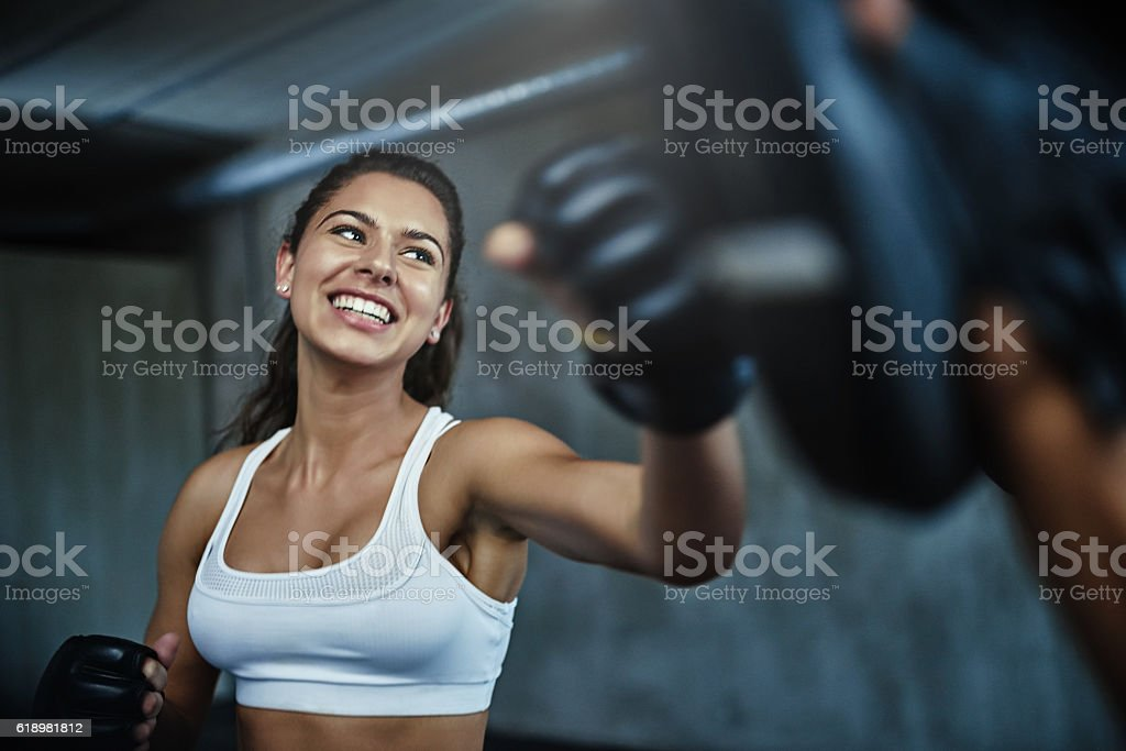 Getting in fighting shape stock photo