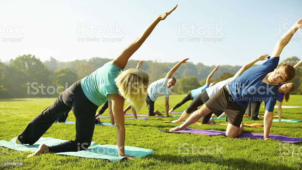 Getting in shape for summer - Yoga royalty-free stock photo