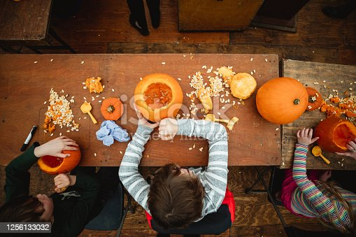 Direct above view of children siblings carving pumpkins at a farm after picking themin preparation for Halloween. There are pumpkin seeds scattered over the table and carving utensils.