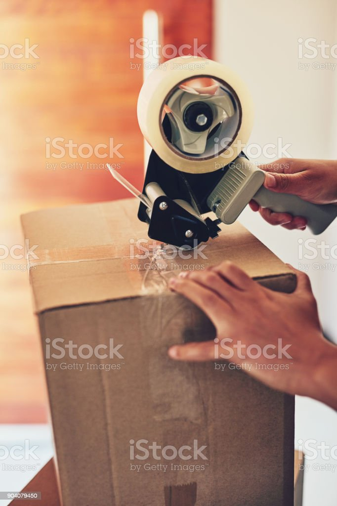 Getting it all boxed up stock photo