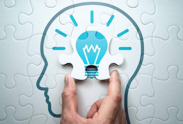 getting knowledge and solving problem. logical idea concept. - puzzle foto e immagini stock