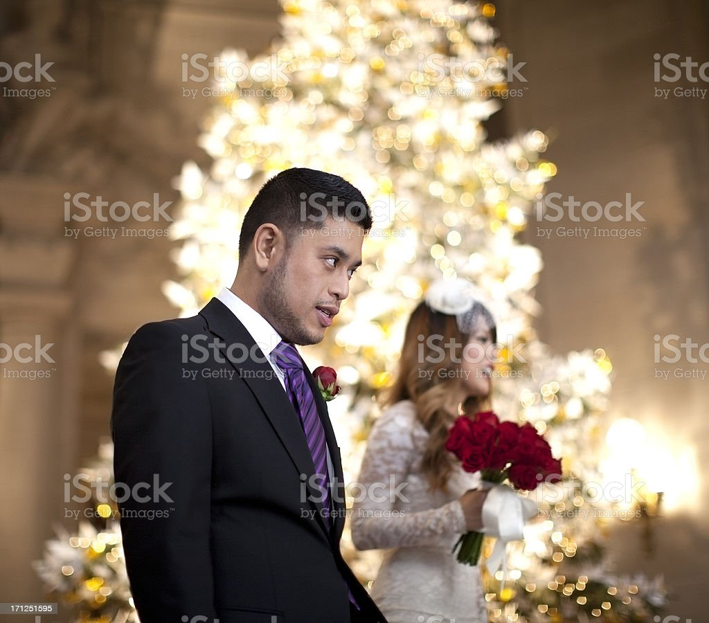 Getting Married: Nervous Groom at Altar stock photo