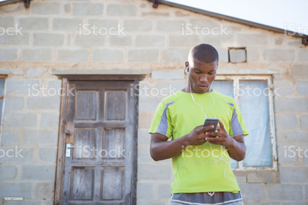 Getting My Music Playlist Ready On My Phone Stock Photo - Download