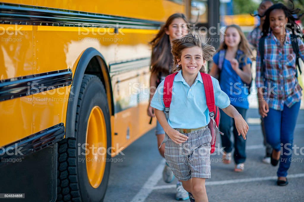 Getting Off the Bus stock photo