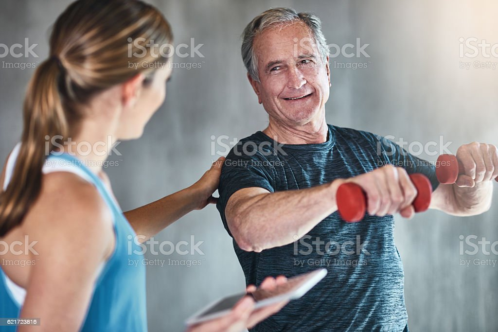 Getting older, getting fitter, getting stronger - foto de stock