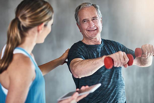 Getting older, getting fitter, getting stronger - foto de stock