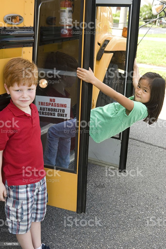Getting on the bus royalty-free stock photo