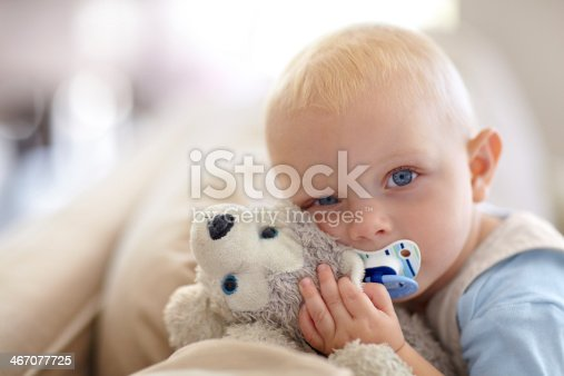 Portrait of a cute baby boy holding a stuffed animal while looking at the camera