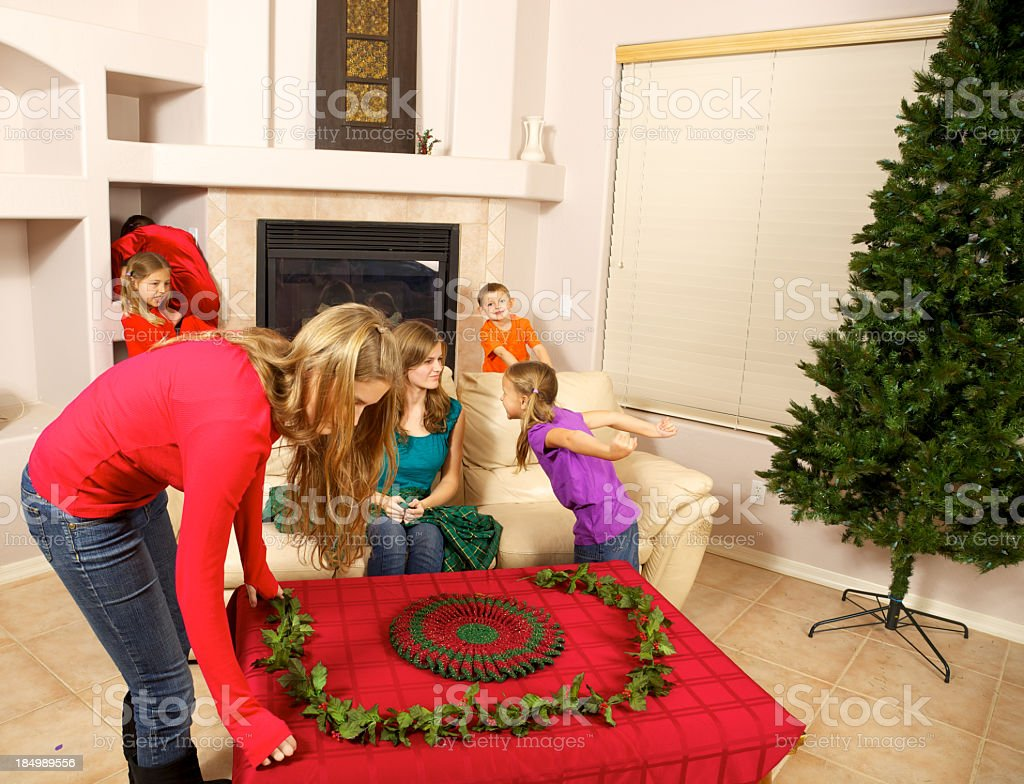 Getting Ready for Christmas with 4 Children and 2 stock photo