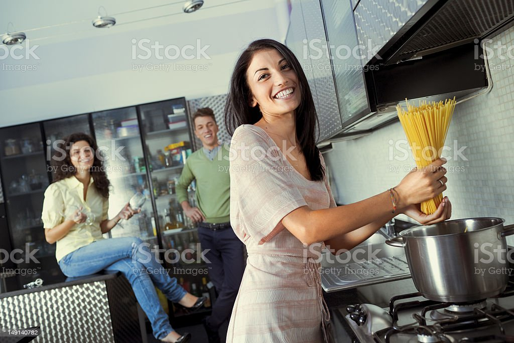 Getting Ready for Dinner Party stock photo