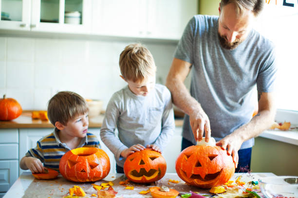 Getting ready for Halloween Getting ready for Halloween pumpkin stock pictures, royalty-free photos & images