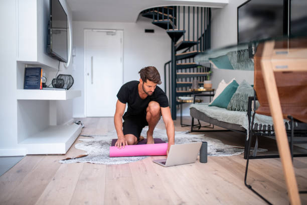 Getting ready for home workout. stock photo