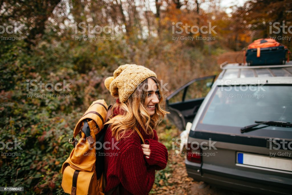 Getting ready for road trip stock photo
